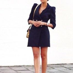 Zara blazer dress with pearl buttons navy blue